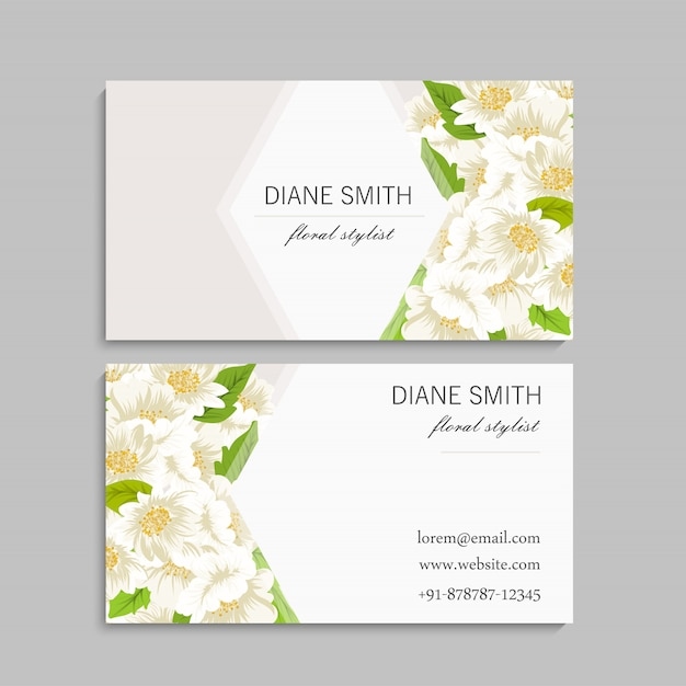 Business card template set with colorful flowers Free Vector