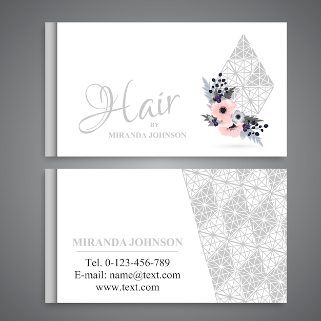 Business card template set with flowers Premium Vector
