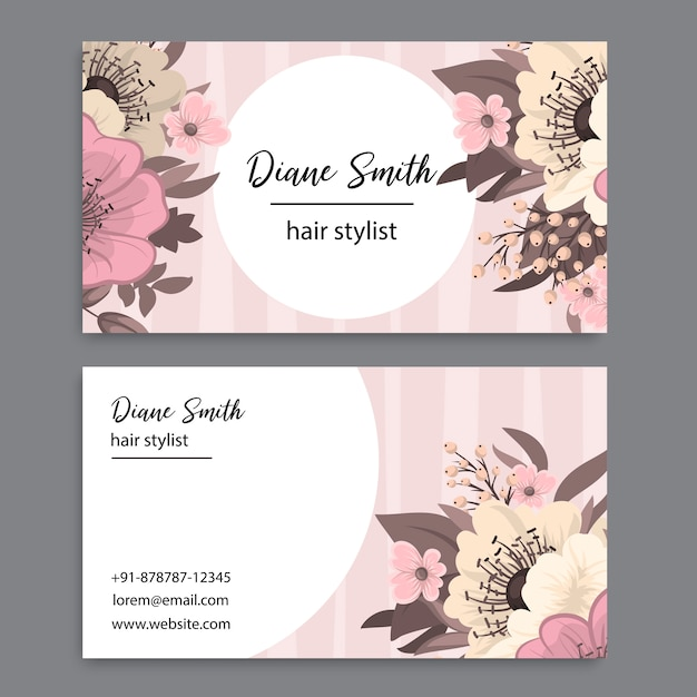 Business card template set with watercolor flowers Premium Vector