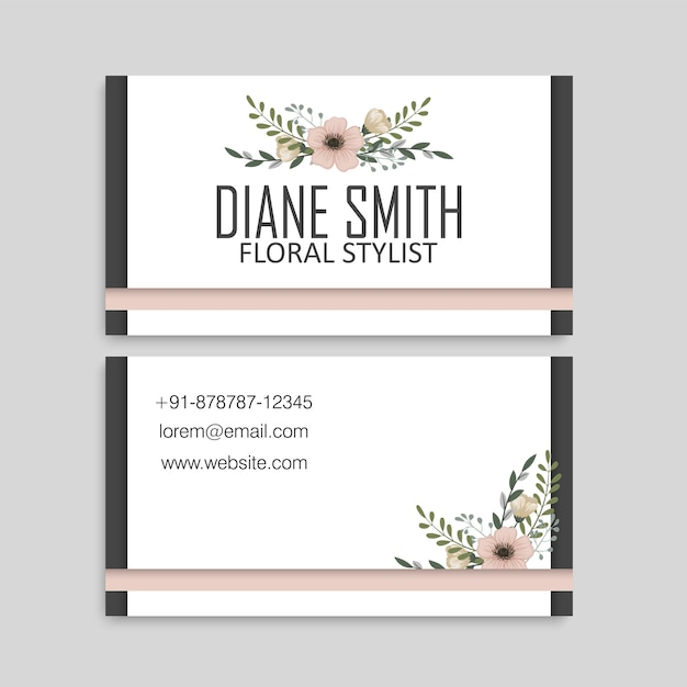 Business card template set with watercolor flowers Free Vector