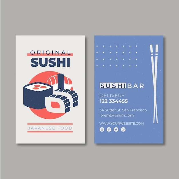 Business card template for sushi restaurant Free Vector