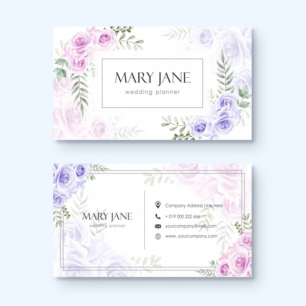 Wedding Hairstyle Video Download: Business Card Template For Wedding Planner Or Florist