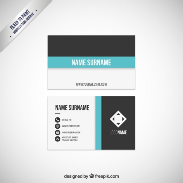 Line Card Examples: Business Card Template With A Blue Line Vector