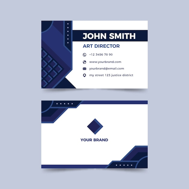Business card template with abstract blue shapes Free Vector