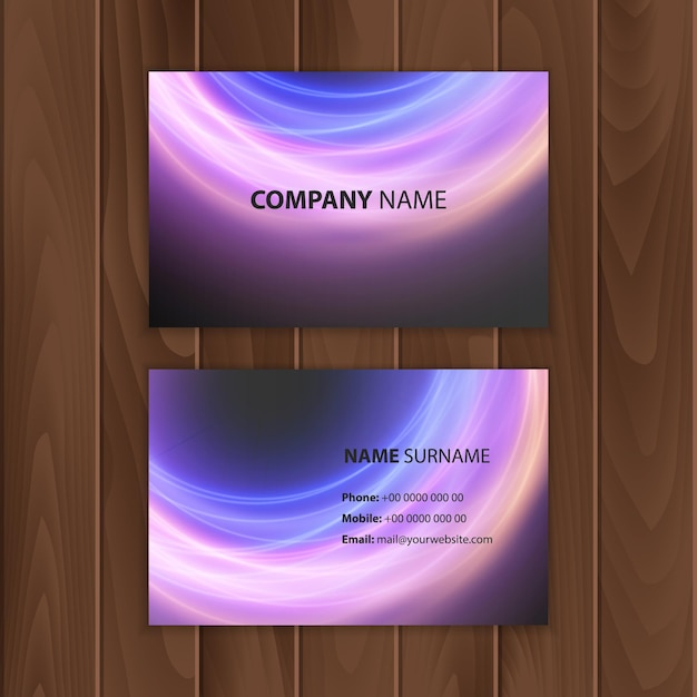 Business card template with abstract colorful background Premium Vector
