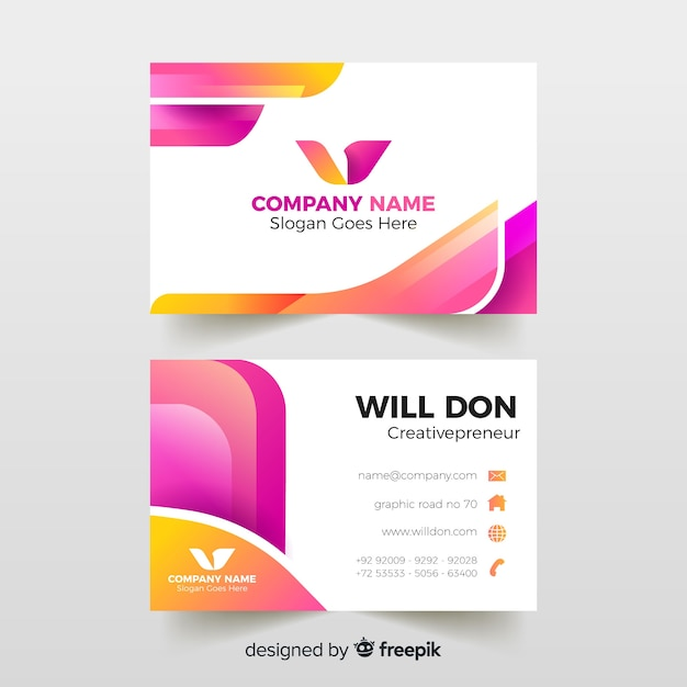 Business card template with abstract design Free Vector