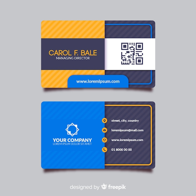 Business card template with abstract shape Free Vector