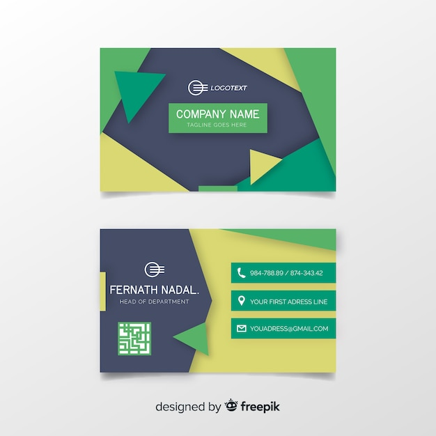 Business card template with abstract shapes with abstract shapes Free Vector