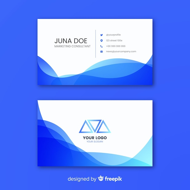 Business card template with abstract shapes Free Vector