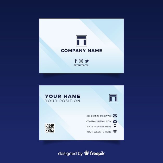 Business Card Template With Abstract Shapes Vector Free
