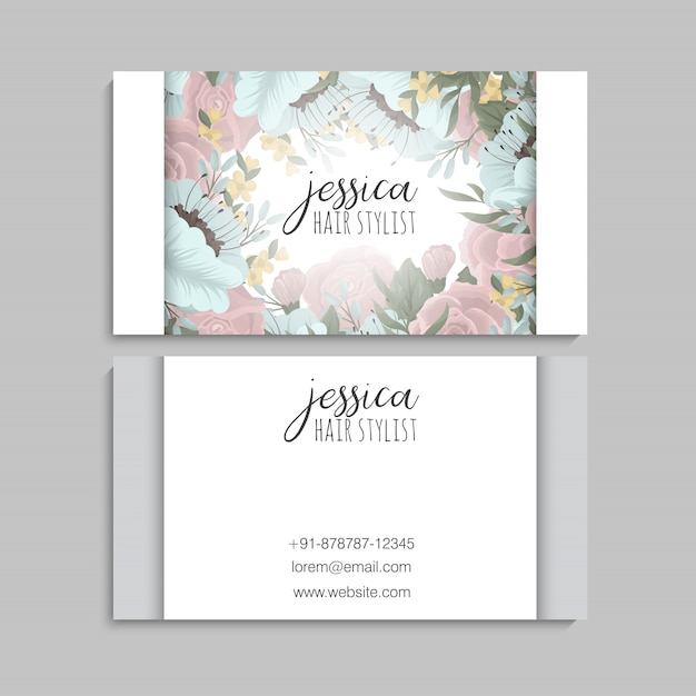 Business card template with beautiful flowers Free Vector