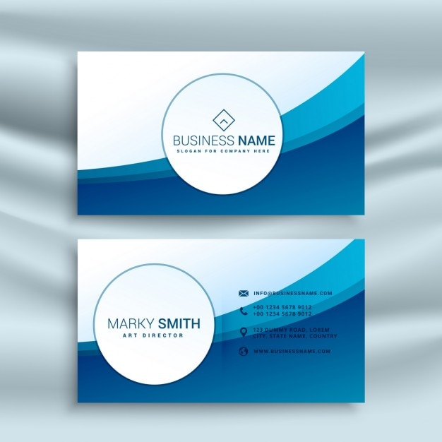Business card template with blue abstract wave vector free download business card template with blue abstract wave free vector cheaphphosting
