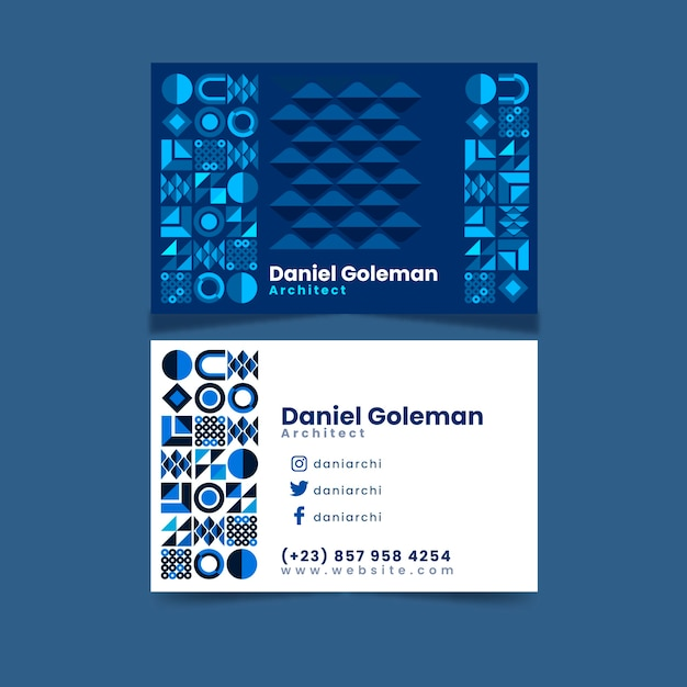 Business card template with blue design Free Vector