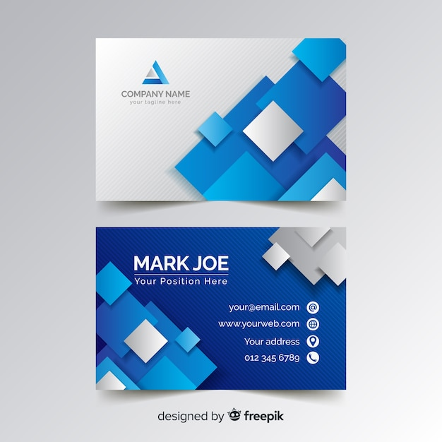 Business card template with blue squares Free Vector