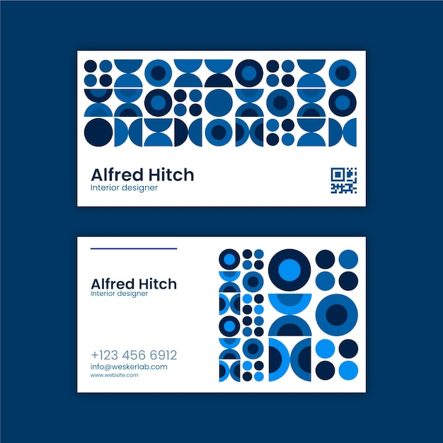 Business card template with blue theme Free Vector