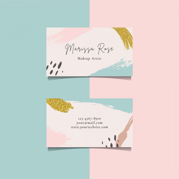 Business card template with brush element and golden glitter brush Premium Vector