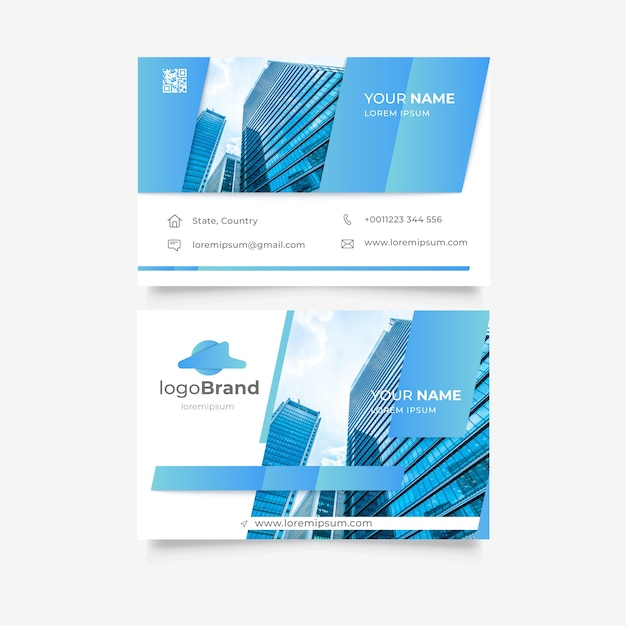 Business card template with buildings Free Vector