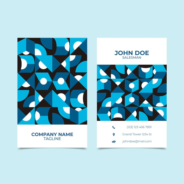 Business card template with classic blue style Free Vector