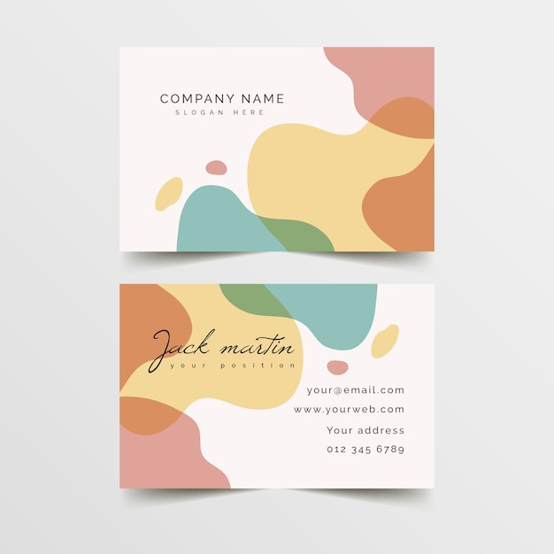 Business card template with colours in pastel Premium Vector