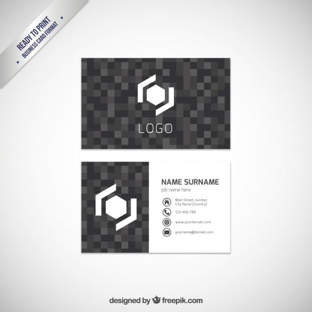 Business card template with dark pixels vector free download business card template with dark pixels free vector colourmoves