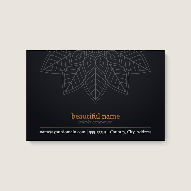Business card template with ethnic mandala design Free Vector