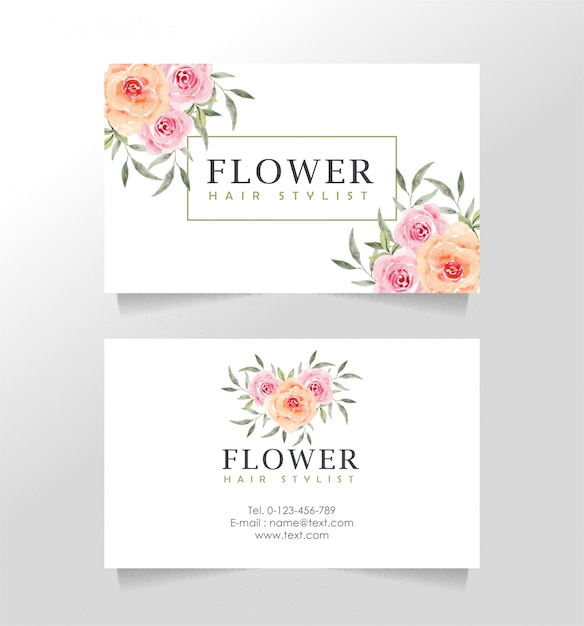 Business card template with floral theme for florist Premium Vector