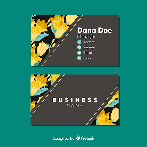 Business card template with flowers Free Vector