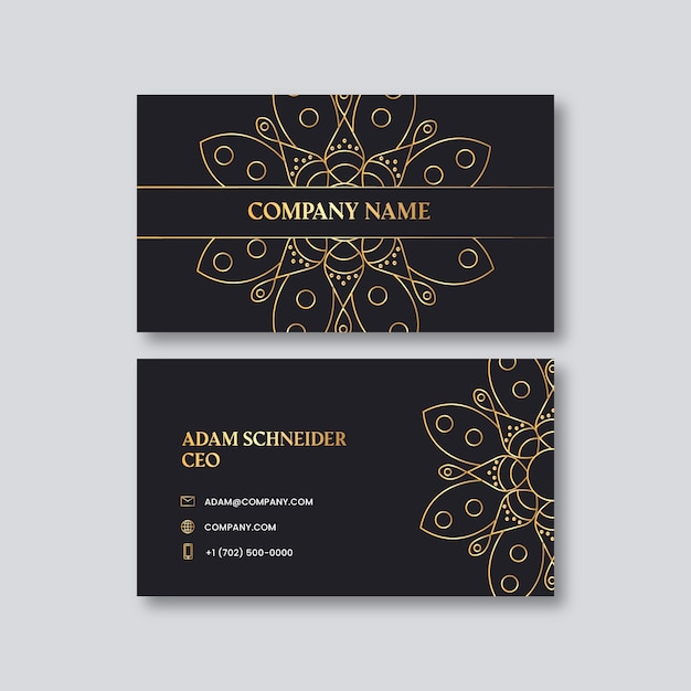 Business card template with golden mandala Free Vector