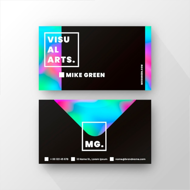 Business card template with gradient colors Free Vector