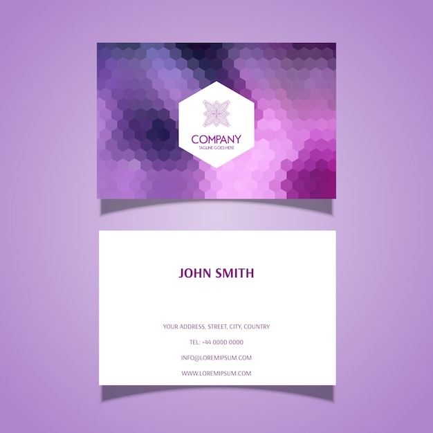 Business card template with hexagonal pattern design Free Vector