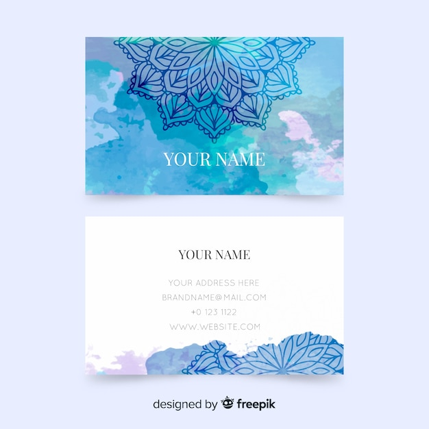 Business card template with mandala Free Vector