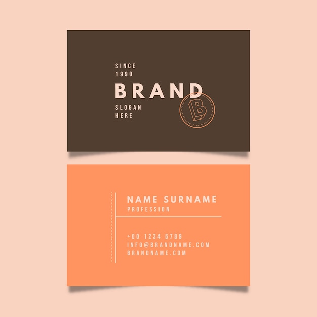 Business card template with minimalist style Free Vector