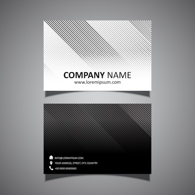 Business card template with a modern striped design Free Vector