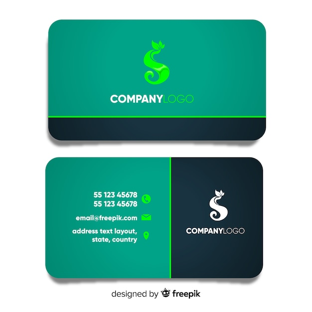 Business Card Template With Nature Design Vector Free Download
