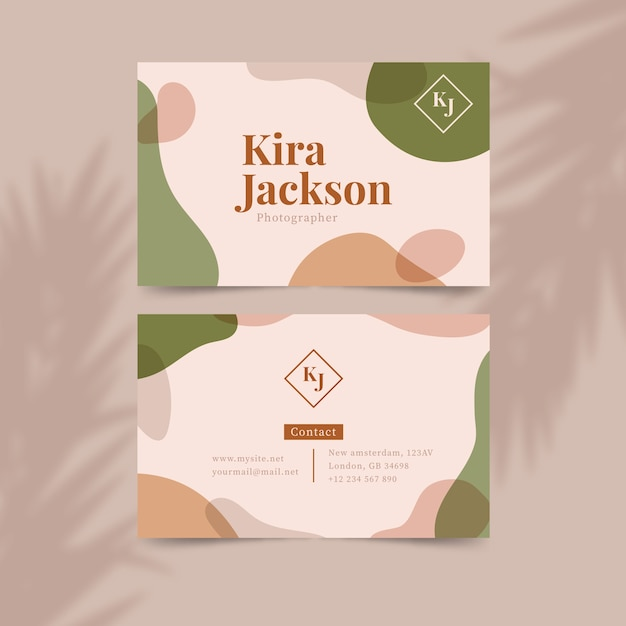 Business card template with pastel-colored stains Free Vector