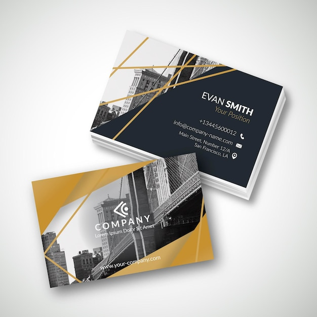 Business card template with photo of city Free Vector