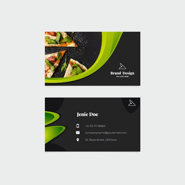 Business card template with photo concept Free Vector