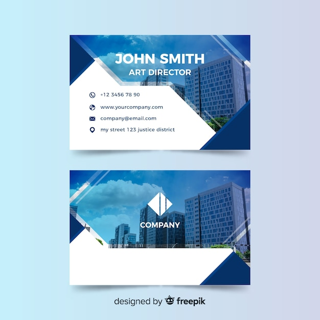 Business card template with photo Free Vector