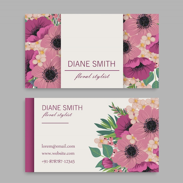 Business card template with pink flowers. template. vector illustration Free Vector