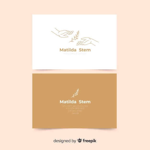 Business card template with plants Free Vector