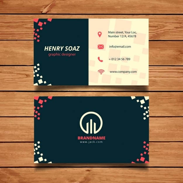 Business Card Template With Squares Vector Free Download - Template for business card