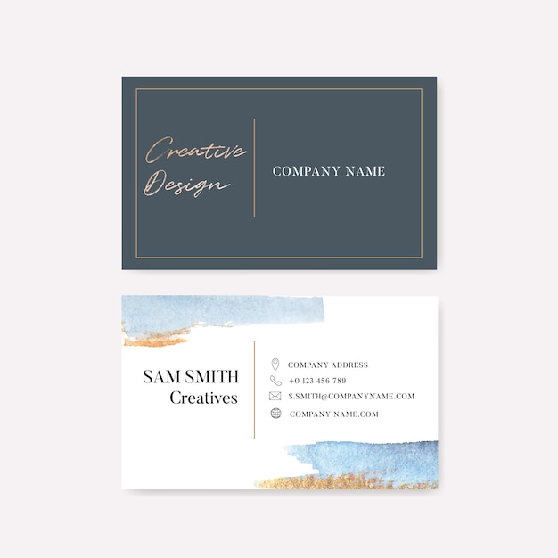 Business card template with watercolor brustrokes Free Vector