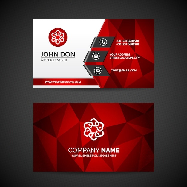 Red visiting card vectors photos and psd files free download fbccfo Choice Image