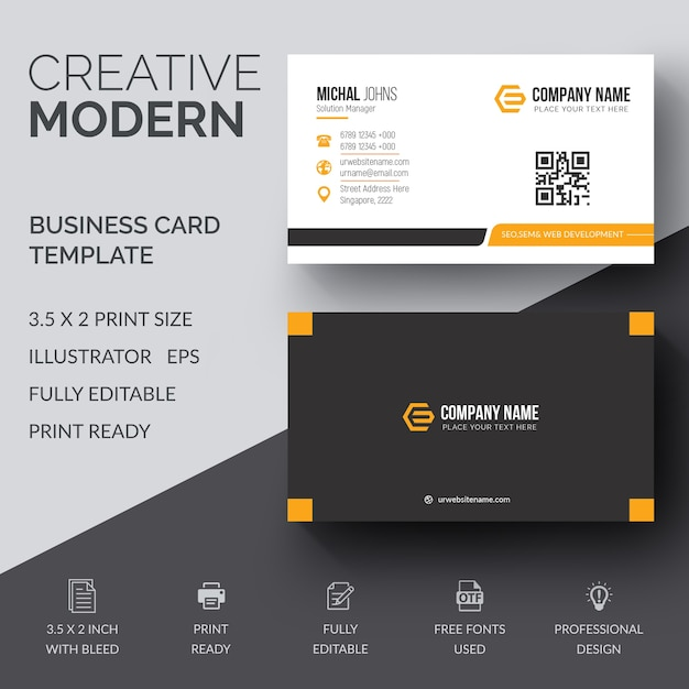 Business Card Template Vector Premium Download - 2 x 35 business card template