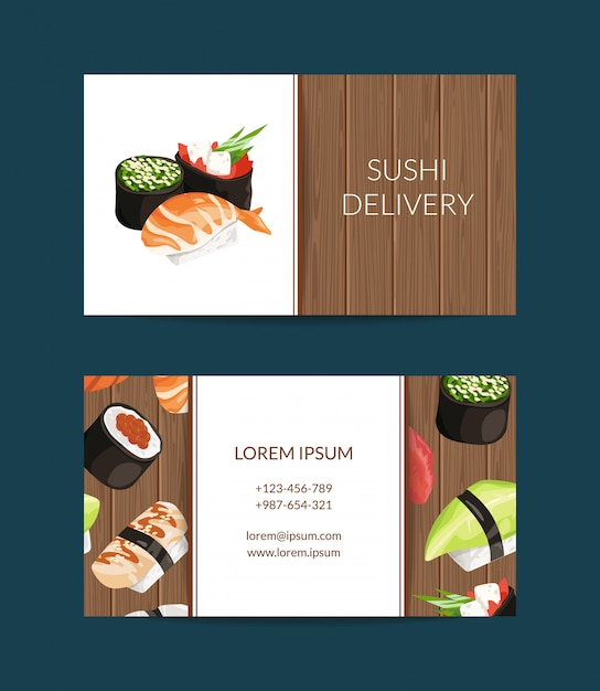 Business card templates in cartoon style for sushi restaurant or cooking lessons Premium Vector