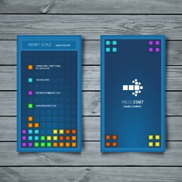 Business Card Tetris Style Vector Free Download