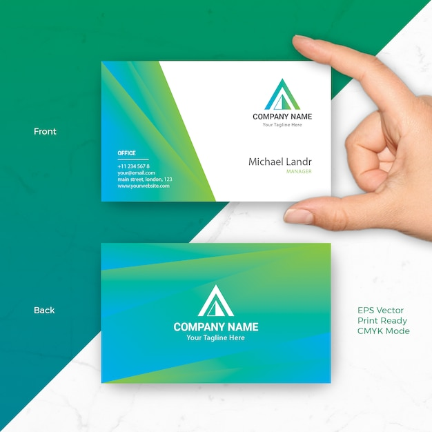 Business card vector template with blue green gradient fit for business card vector template with blue green gradient fit for modern corporate startup company reheart Gallery