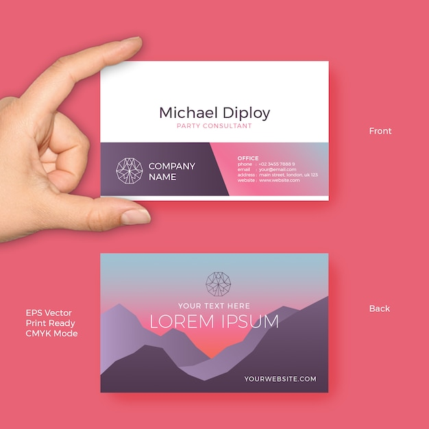 Business card vector template with modern sunset gradient colors and business card vector template with modern sunset gradient colors and luxury minimalist style premium vector cheaphphosting Choice Image