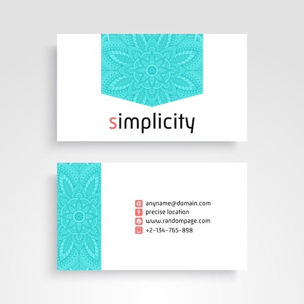 Business Card. Vintage decorative elements. Ornamental floral business cards or invitation with mandala Free Vector