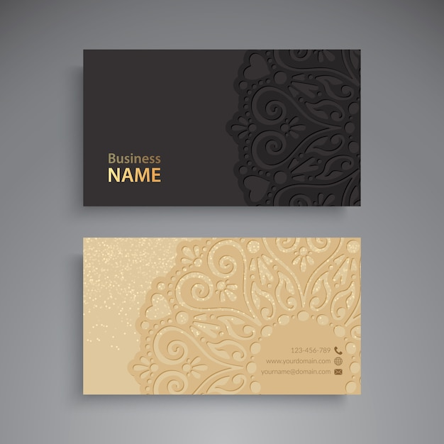 Business Card. Vintage decorative elements.  Free Vector